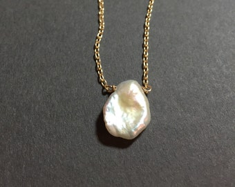 Keshi pearl necklace natural lustrous ivory cream color in gold filled