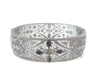 Antique Filigree Sapphire Art Deco Bangle, Vintage 1920s Art Deco Jewelry, Wedding Jewelry, Art Deco Jewellery