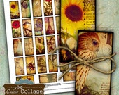 Vintage Eclectic Mix Digital Collage Sheet 1x2 Domino Images for Solder Pendants, Dominos, Wood Tiles, Decoupage, Pendant Printables