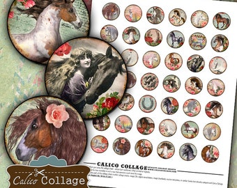 Wild Horses, Collage Sheet, 1 inch Circles, Bottle Cap Images, Images for Pendants, Bottle Cap Collage, Printable Download, Pendant Images