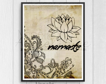 Namaste Wall Art, Zen Wall Art, Printable Wall Art, Zen Printable, Yoga Printable Art, Zen Wall Decor, Instant Download, Yoga Printable