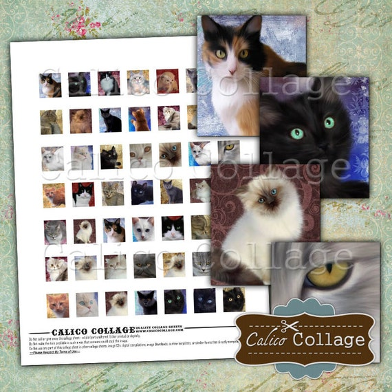 Painted Cats, Kittens, Scrabble Tile Images, Digital Collage Sheet, Scrabble Tile Size, Printable Sheets, Printable Sheet, Collage Sheets