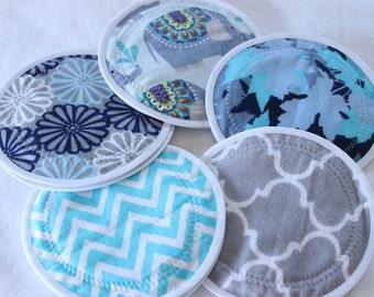 LARGE 5.5 inch Nursing  Pads,reusable nursing pad, waterproof breast pads, PUL, flannel, zorb, washable,  5 pairs