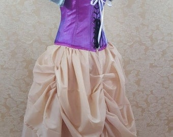 SALE Wheat Cream Midi Length Tie Bustle Skirt-One Size Fits All