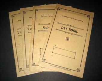 Vintage 1905 Practice Paperback Ledgers - Introductive Bookkeeping - 4 Workbooks w/ Some Handwritten Entries, Blank Pages for Paper Crafting