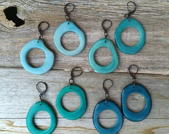 Shades of blue hoop earrings You Pick Color