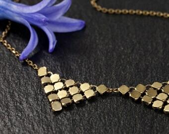 Lorelei - Antique brass thin chain and mesh triangles