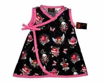 Punk Rock Dress - Goth Clothing - Skull And Crossbones - Butterfly Dress - Heart Dress - Toddler Dress - Girls Dress - Dress - 2t - 3t