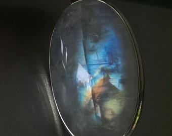 Rainbow Moonstone Pendant/ Large Blue Moonstone Necklace. AAA Rainbow Moonstone Jewelry! 925 Moonstone Pendant! Top Grade / June Birthstone