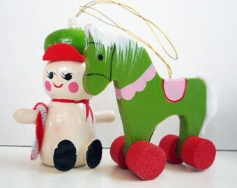 Vintage Painted Wooden Ornaments Pink and Green Rocking Horse Cute Snowman Hanging Christmas Ornament Cute Holiday Decor