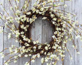Spring Wreath, Dogwood Blossom Wreath for Door, Spring Flower Wreaths