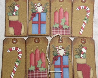Primitive Grungy Snowman Stocking Candy Candle Stocking Mixed Christmas Gift Tags or Hang Tags #T 21