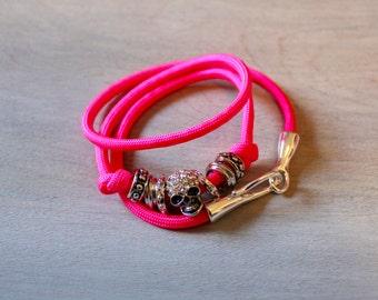 Skull Bracelet Neon Pink