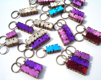 Organizer keyrings for spare keys handmade in wood and acrylic