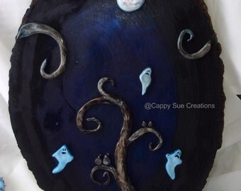 Ghost tree under the moon original fine art assemblage