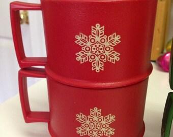 Vintage Tupperware Red Snowflake Christmas Mugs