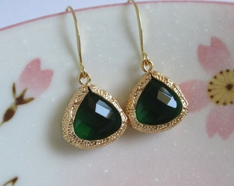 Emerald Green Crystal Glass Earrings, May Birthstone, Gold Ear Hooks, Weddings Jewelry