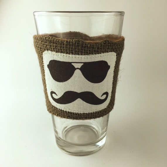 Coffee Sleeve Stach Beer Pint Glass Reusable Cup Sleeve Brown Burlap Wedding Favor