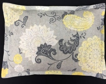Corn Heating Pad, Microwavable Corn Bags, Hot Cold Therapy, Spa Massage Gift, Physical Therapy - Yellow White Gray Floral
