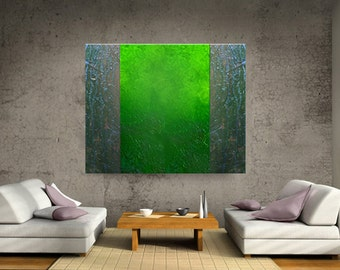 ABSTRACT LARGE modern art original painting acrylic wall hanging earthy textured contemporary fine art Carol Lee - Green Space by Leearte