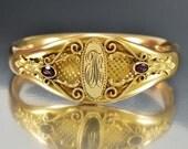 Gold Filled Bangle, Victorian Cuff Bracelet, Art Nouveau Hinged Bracelet, Amethyst Personalized, Antique Jewelry, Vintage Bangle Bracelet