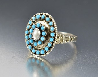 Antique Turquoise Ring, Austro Hungarian Pearl Ring, Harem Ring, Domed Silver Cocktail Statement Ring, Rustic Bohemian Ring Large Size 9.5