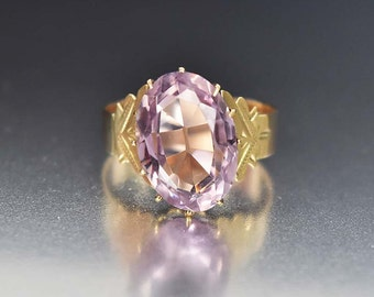 Victorian Gold Amethyst Ring, Antique Gold Engagement Ring, Victorian Ring, 9ct European Ring, Antique Jewelry, Birthstone Ring, Size 6