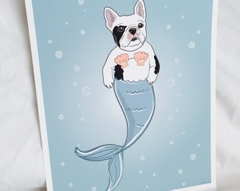 French Bulldog Mermaid - Black and White - Eco-Friendly 8x10 Print