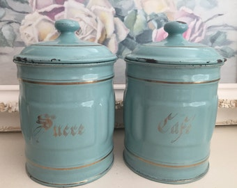 French Vintage Turquoise Enamel Canisters - Set of 2 French Canisters - Turquoise with Gold Enamelware - Vintage French Containers