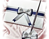 Wedding Guest Book and pen set Navy Blue and Silver Grey wedding decorations.