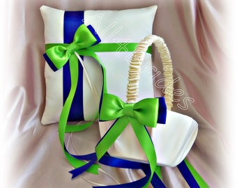 Cobalt Blue and Green Wedding Flower Girl Basket  and Ring Bearer Pillow, Wedding Ceremony Decor