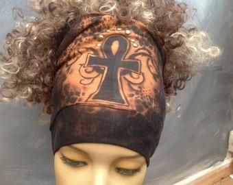 Nubian Ankh headband dreadband no wrap pull on black headband