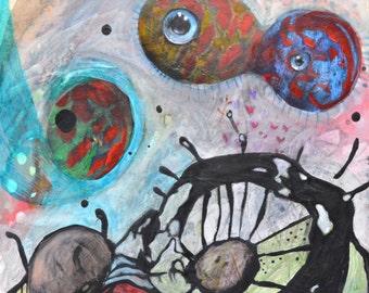 OOAK Original Watching Painting on Panel