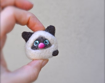 Teeny Tiny Miniature Needle Felted Cashmere Siamese Cat