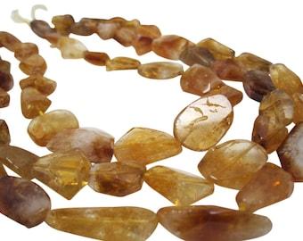 Citrine Nuggets Beads, Natural Citrine Beads, November Birthstone, SKU 4409A