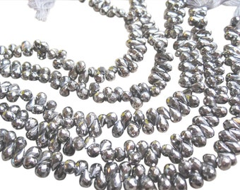 Pyrite Briolettes, Faceted Pyrite Beads, Pyrite Teardrops, SKU 2861