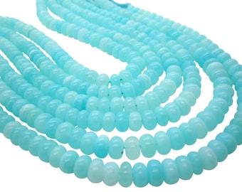 Blue Peruvian Opal Beads, Peruvian Opal Beads, Blue Opal Beads, Rondelles, SKU 5033