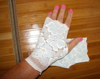 Pale Blue and White Florial Lace Fingerless Gloves Mori Girl Lolita Glam Gloves