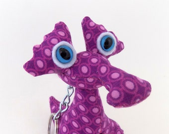 Cute Keychain, Purple Keychain, Alien Keychain, Monster Keychain, Stocking Stuffer by Adopt an Alien named Kelly