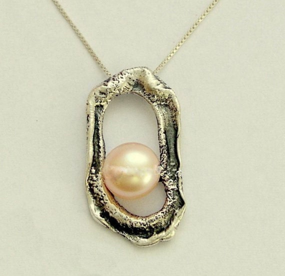 Silver pendant , peach pearl pendant, sterling silver chain, peach pearl necklace, organic pendant, oxidized - Pearl in the rough N4498