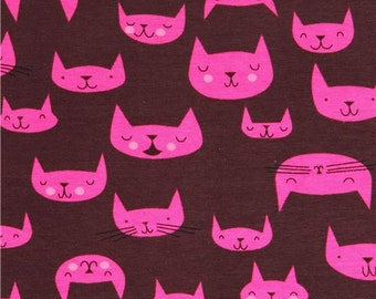 201021 dark brown cat knit fabric Andover USA