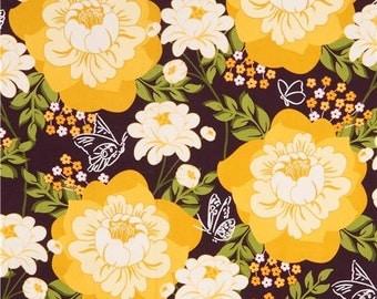 211049 dark purple fabric big yellow flower by Michael Miller Flutter By Rose