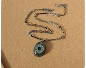 Roller Derby Bearing Necklace - hand cast black glitter resin pendant