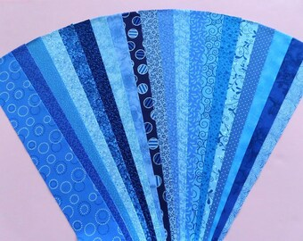 Blue Jelly Roll Strip Pack Fabric Quilt Strips Quilting Sewing Patchwork Material Cotton Die Cut No Duplicates (sku JR120-BLUEyd)