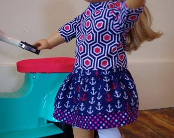 """18"""" Doll Outfit - Navy and Hot Pink"""