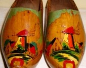 Old Dutch Wooden Shoes Holland clogs klomp painted wood pyrography vintage folk costume props