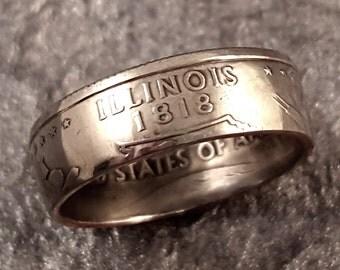 Illinois Coin Ring State Quarter YOUR SIZE MR0705-Tstil