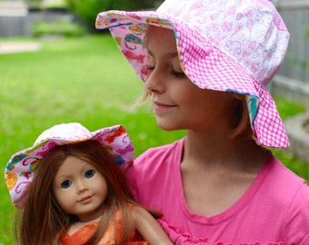 Pink sun hat for girls, floppy wide brim, girly and fun Paris hat, colorful sun protection