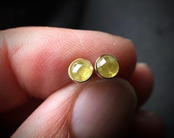 4mm untreated natural yellow rose cut diamond stud earrings in solid 18k yellow gold