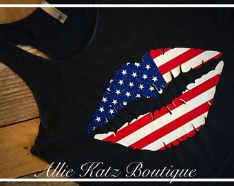 Patriotic 4th of july flag lips  Racerback Tank top